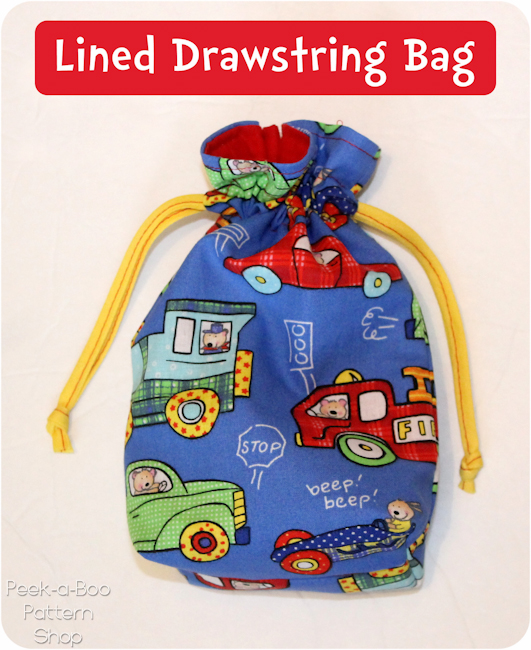 Lined Drawstring Bag Tutorial - Peek-a-Boo Pages - Sew Something ...