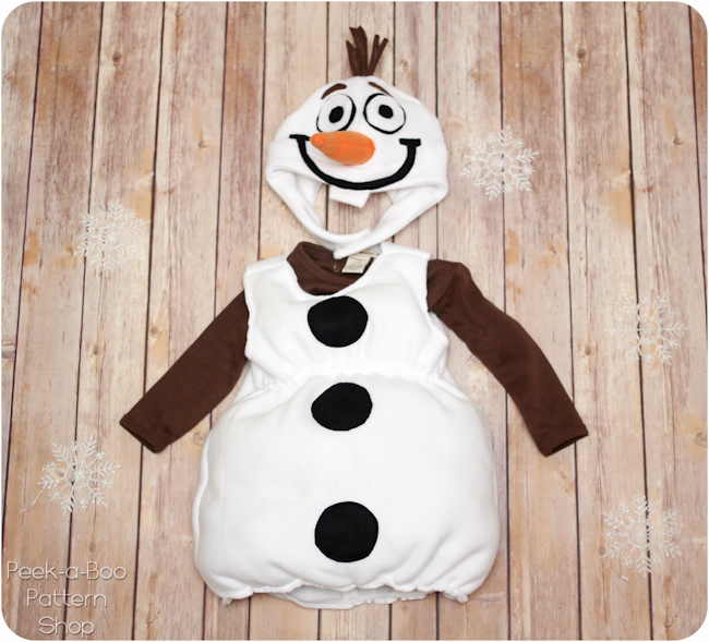 Olaf inspired costume tutorial peek a boo pages patterns fabric edge on the wrong side of the fabric and then sew in place with a zig zag stitch stretching the elastic as you go and it will gather all on its own solutioingenieria Image collections