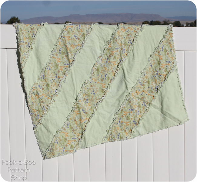 diagonal stripe rag quilt pattern