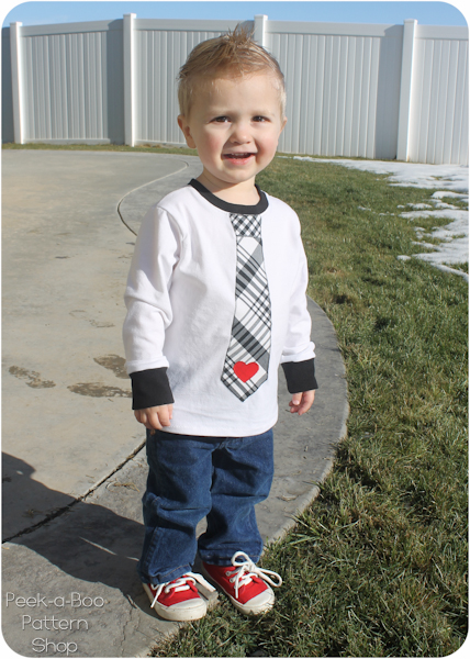 Boys Valentine S Day Tie Tee Shirt With Free Applique Template